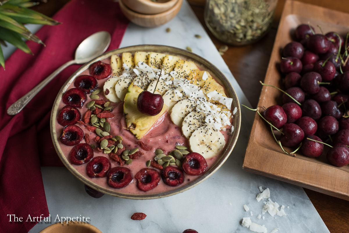 Vegan Cherry Pineapple Smoothie Bowl The Artful Appetite