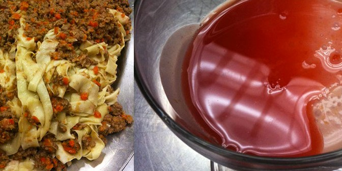 Ragu alla Bolognese w/ Handmade Tagliatelle :: Onion, Olive & Rosemary Focaccia :: Blood Orange Panna Cotta