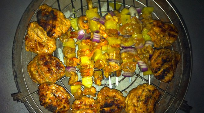 Grillin' Up Summer BBQ: Tasty Chicken Burgers and Shrimp Kabobs