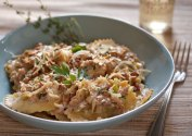 Chicken Marsala Ravioli with Wild Mushrooms, Leeks, Thyme in a Garlic Wine Cream Sauce
