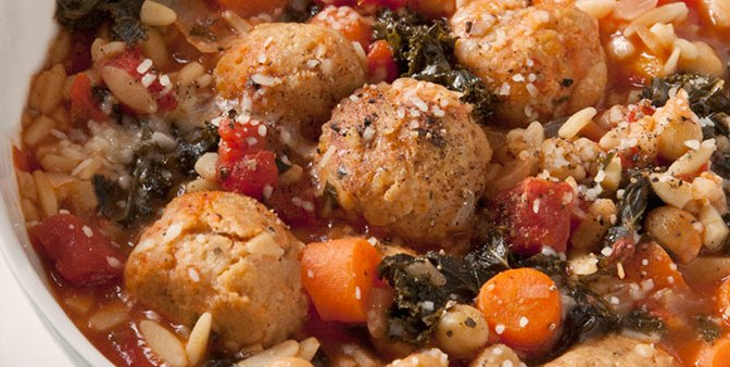 Chicken Meatball Soup with Kale, Chickpeas & Orzo