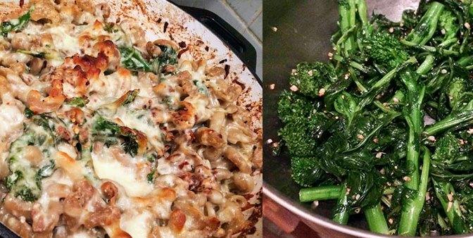 Cheesy Baked Pasta w/ Sausage, Broccoli Rabe, Ricotta & Mozzarella