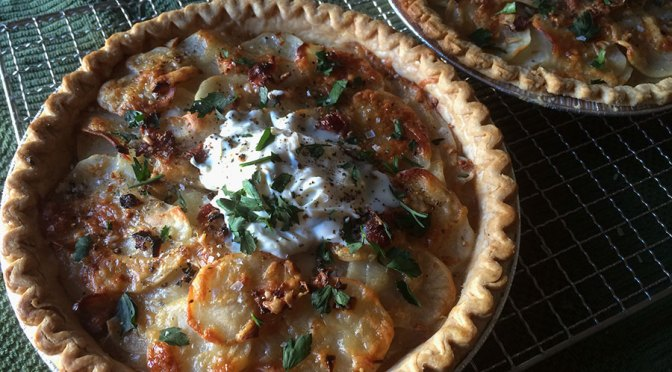 Pie Party GE Potluck & a Potato, Bacon & Gruyere Pie w/ Shallots, Creme Fraiche & Fresh Herbs