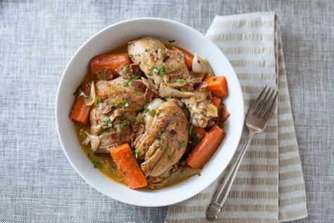 Wine-Braised Chicken with Bacon, Veggies & Herbs