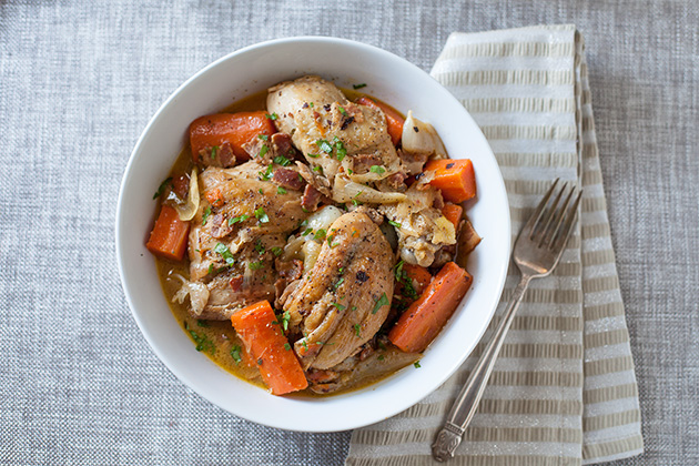 Wine-Braised Chicken with Bacon, Veggies & Herbs