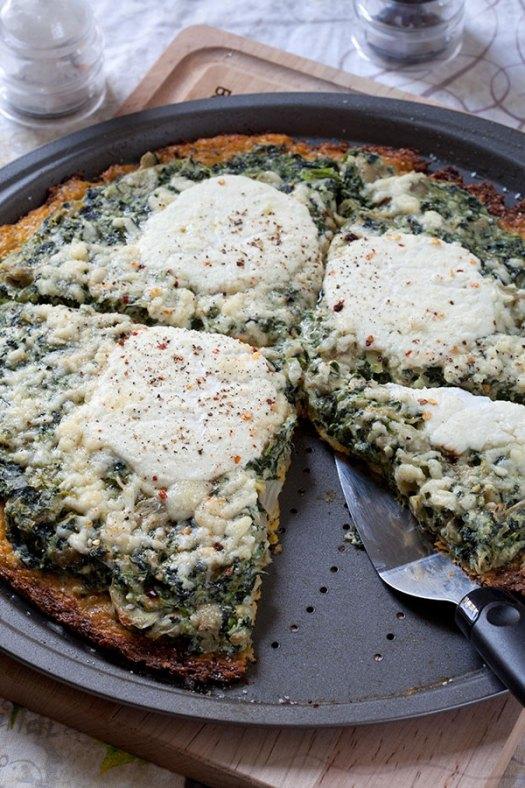Spinach Artichoke Pizza with Cauliflower Crust