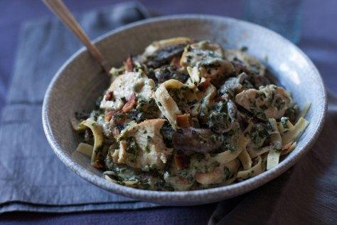 Chicken Spinach Mushroom Fettuccine