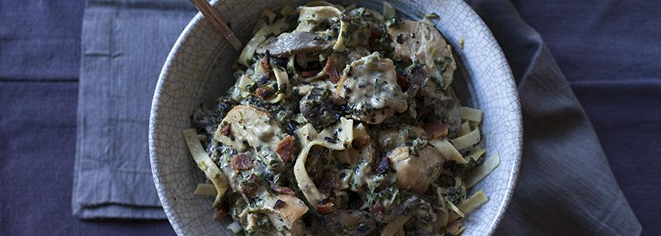 Chicken Spinach Mushroom Alfredo Fettuccine
