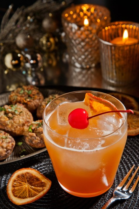 Whiskey Sour and Stuffed Mushrooms