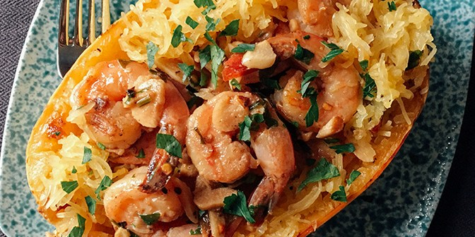 Lemon Garlic Shrimp w/ Spaghetti Squash