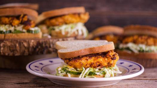 Hot Chicken Sandwiches with Pickles and Slaw