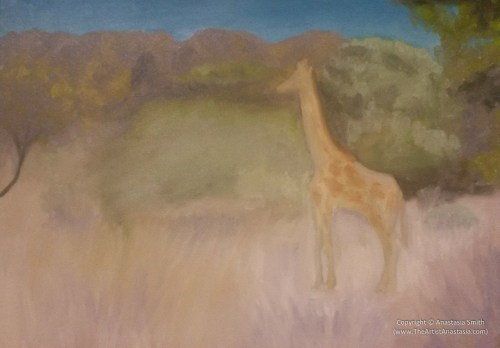 Young Giraffe (29.5x42cm, 11.5x16.5in) Oil on Canvas Board
