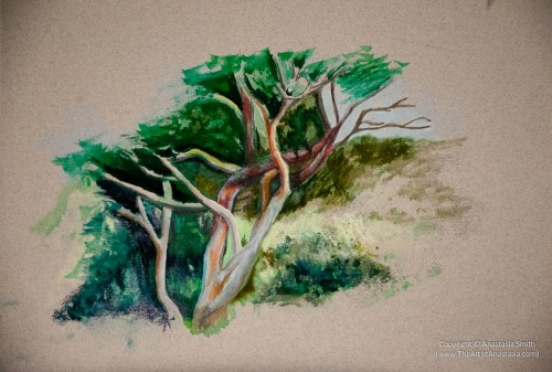 Colorful Tree Study (23x30cm, 9x12in) Mixed Media on Paper