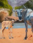 Wildebeest Watch, 102x76cm, Oil on Canvas
