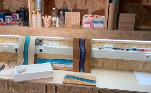 workshop epoxy river serveerplank maken