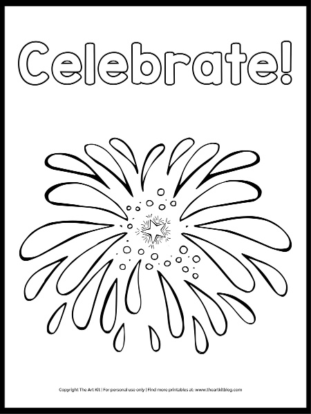 Celebrate 4th Of July Coloring Page Free The Art Kit