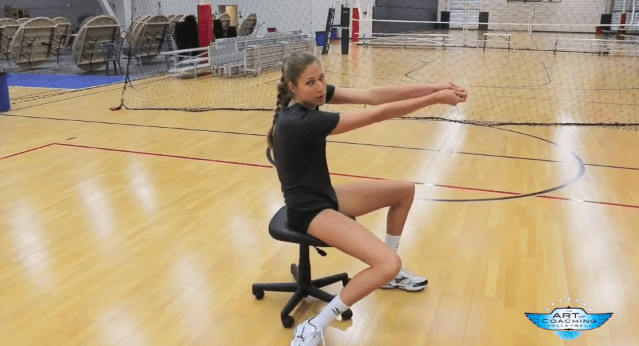Passing a volleyball on a rolling chair A great way to
