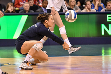 Penn State won back-to-back NCAA championships in 2013 and 2014 with on-court leadership from setter Micha Hancock and defensive specialist Dominique Gonzalez. Photo by Mark Selders, Penn State Athletics