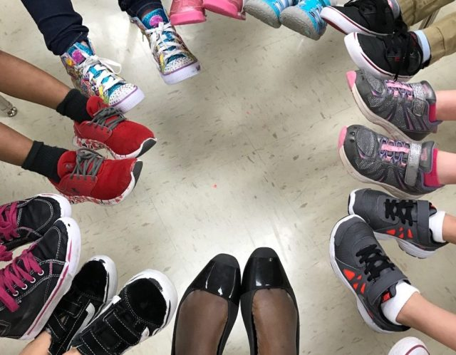 students feet in a circle