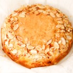 apricot almond cake with crown of slivered almonds