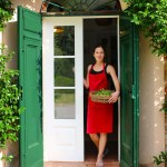 Chef Deborah Dal Fovo at her kitchen door in Tuscany
