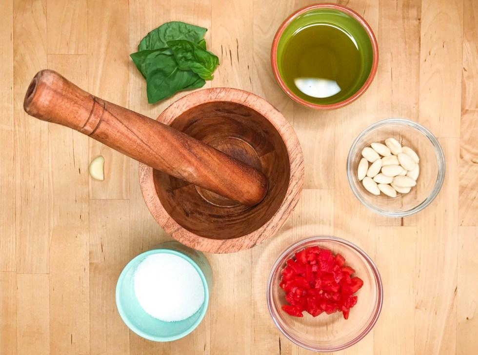 Trapanese pesto ingredients