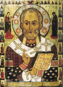 Saint Nicholas of Myra, on a 12th century Russian icon