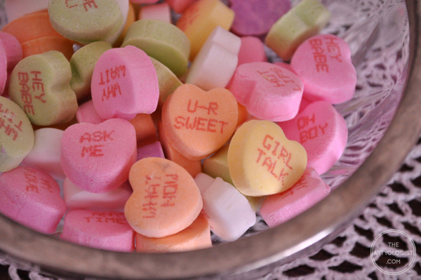 the artyologist- image of message candy hearts for valentines