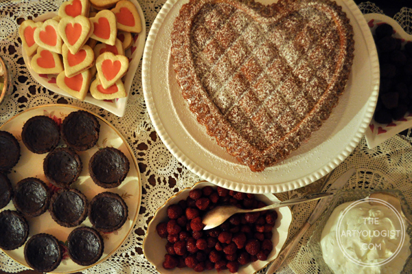 the artyologist- image of dessert spread for valentines tea party
