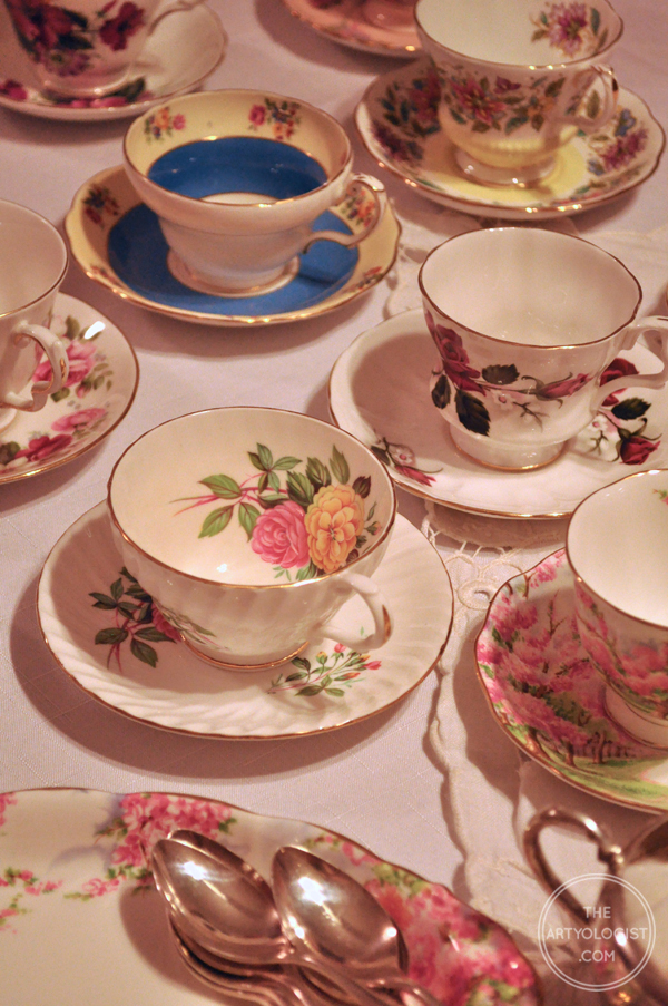 the artyologist- image of china teacups spread out on buffet for valentine's