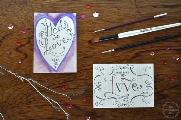 the artyologist- image of hand lettering valentines of bible verses