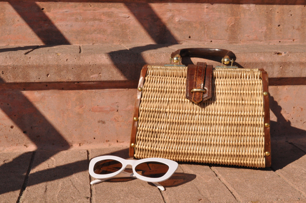 the artyologist image of franco sarto shoes, vintage rattan purse and white sunglasses