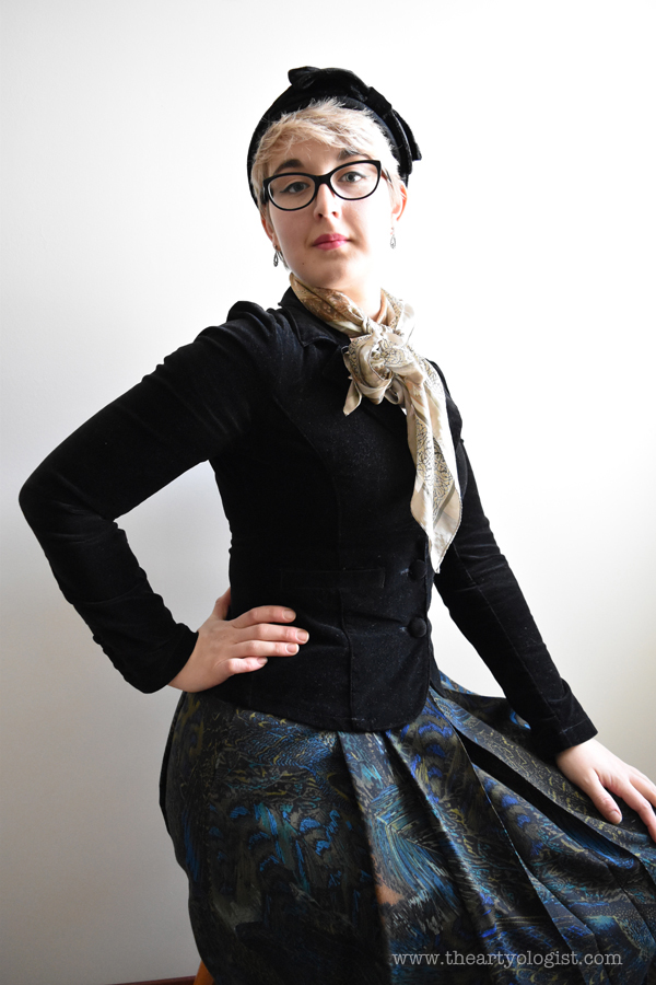 the artyologist image of vintage hat and peacock skirt
