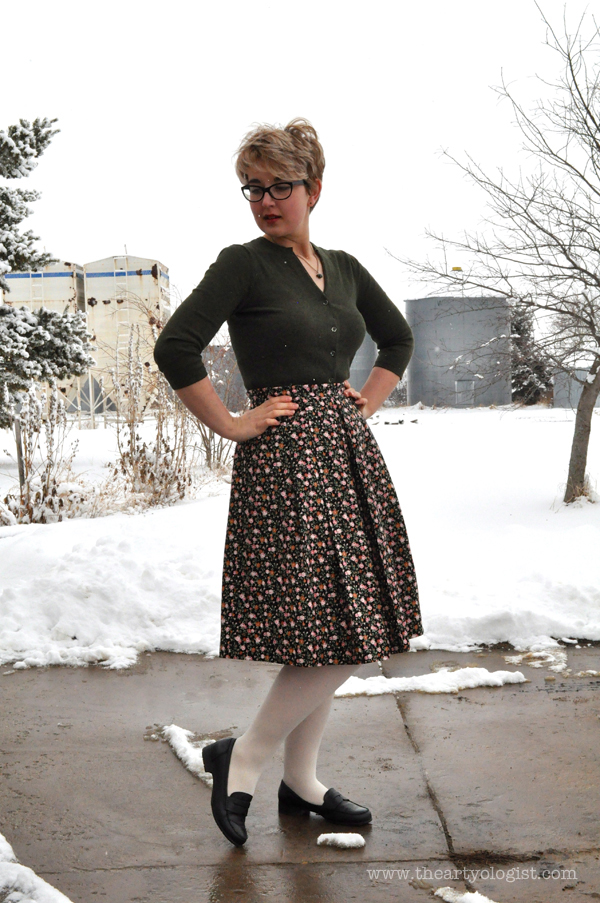 the artyologist: image of spring dressing with floral skirt, black hotter loafers and white tights