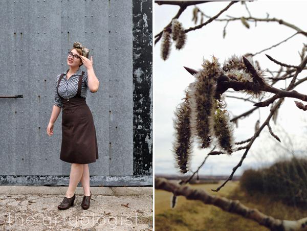 the artyologist image of 1939 vintage inspired suspender skirt