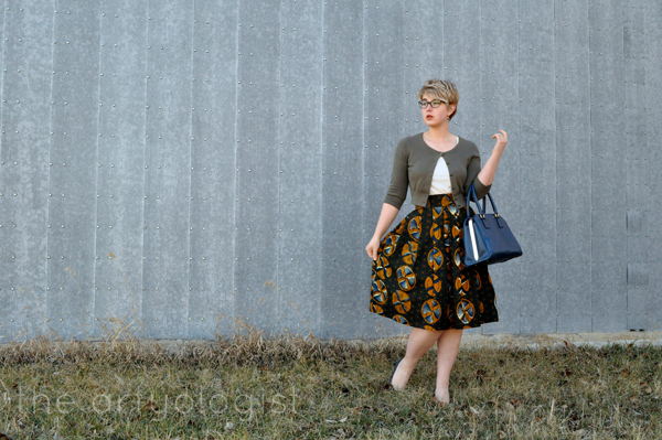 the artyologist- vintage style dutch wax print skirt