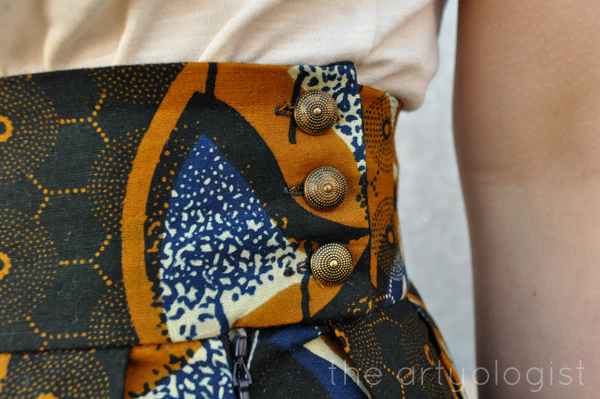 the artyologist- image of african wax print style skirt waistband detail