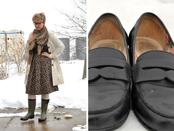 the artyologist image of spring dressing rubber boots and black hotter loafers