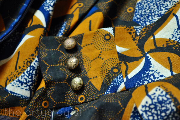 the artyologist- image of waistband piecing on african wax print skirt made of chinese fabric