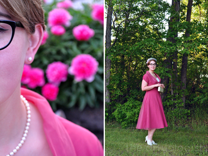 image of vintage 1950's pink dress and peonies