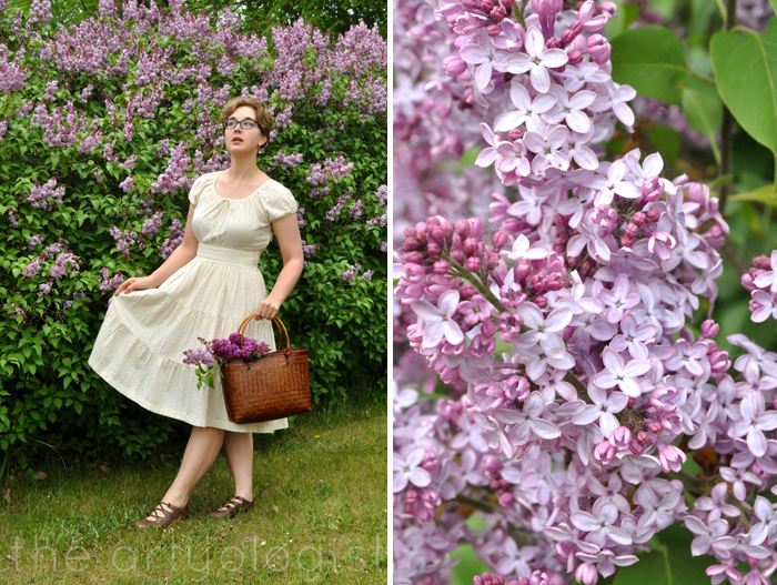 image of seersucker dress and lilacs