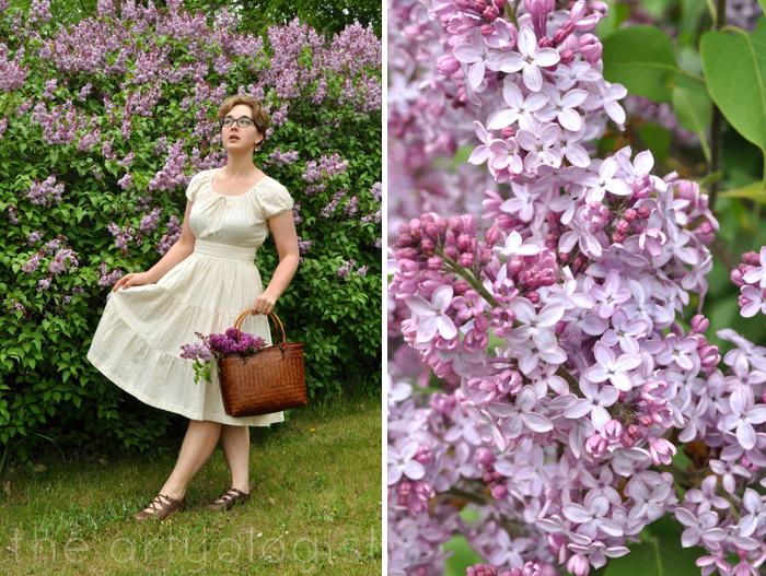image of seersucker dress and lilacs