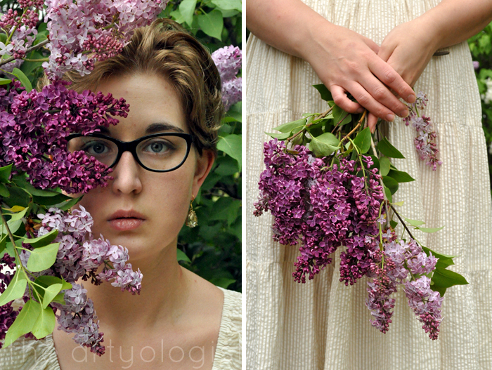 image of holding lilacs and portrait the artyologist