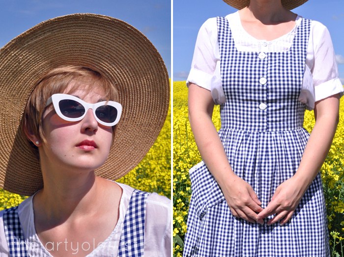 hat white sunglasses and gingham pinafore the artyologist