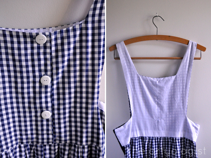 button detail and bodice lining gingham pinafore the artyologist