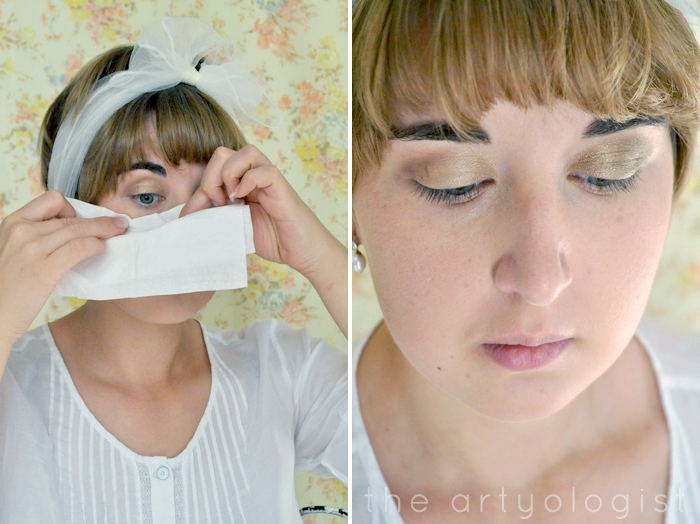 applying goldglitter eyeshadow, pure anada, How to Create a Modern 1920's Makeup Look, the artyologist