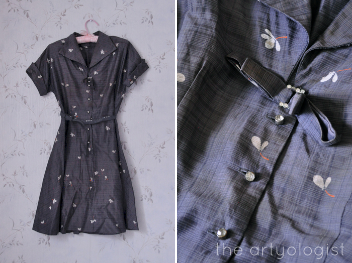 vintage grey dress, thrifting treasures, the artyologist