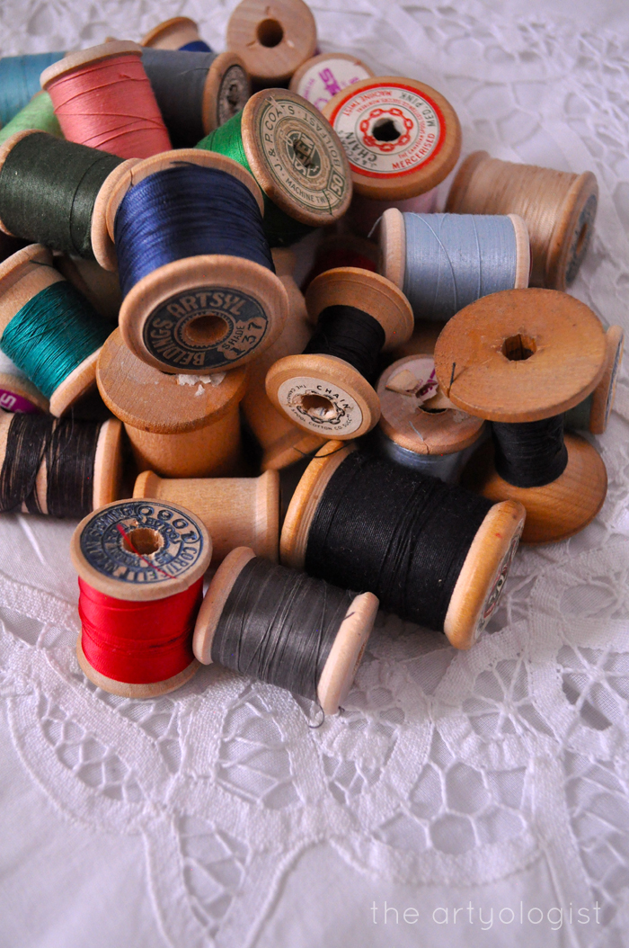 thread-spools, thrifting treasures, the artyologist