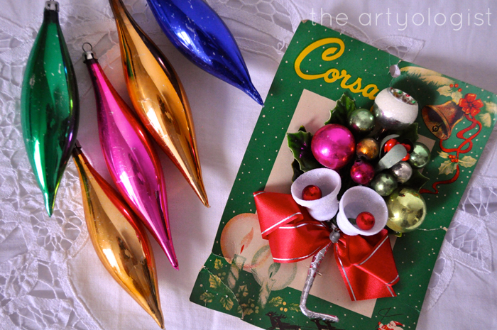 vintage xmas ornaments, thrifting treasures, the artyologist