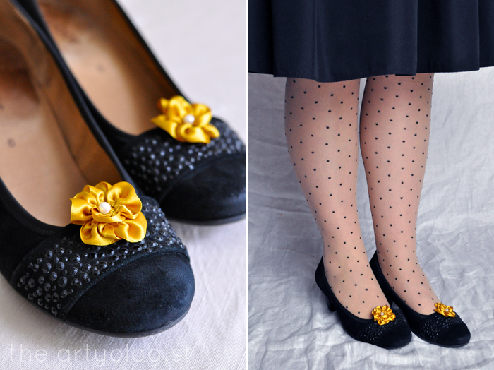 Bringing Back Coupon Busters One Pair of Shoe Clips at a Time, the artyologist, black, yellow flowers